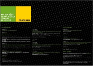 Programa Jornades Microcrèdit i Banca Ètica (tríptic interior)