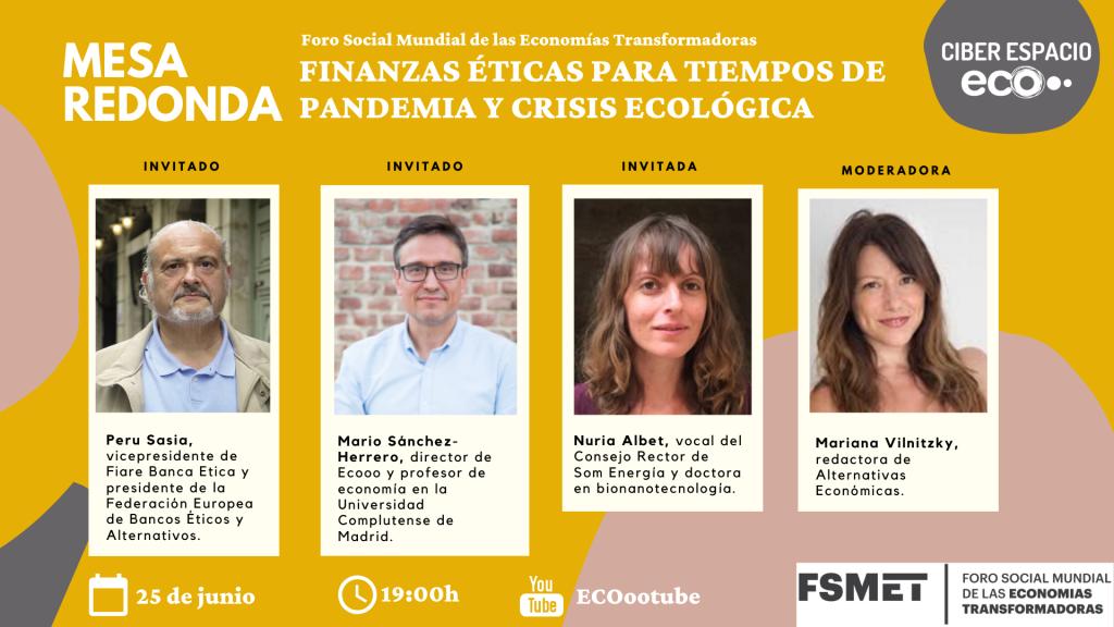 Cartel mesa redonda finanzas éticas en FSMET